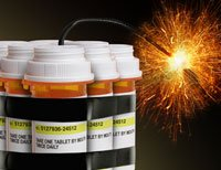 prescription pill bottles with light fuse