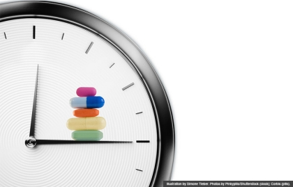 clock-meds-timing (Illustration by Simone Tieber. Photos by Pinkypills/Shutterstock (clock); Corbis (pills).)