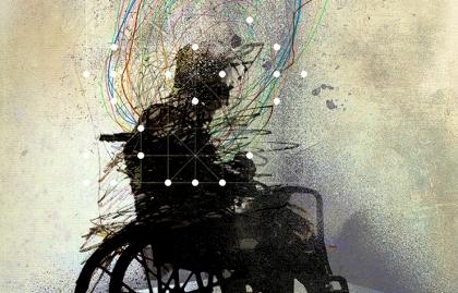 Ilustración de un hombre en silla de ruedas - Uso de antipsicóticos en hogares de ancianos