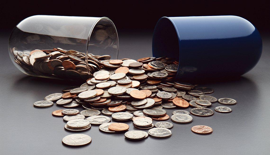 Capsule spilling coins, Cancer drug costs