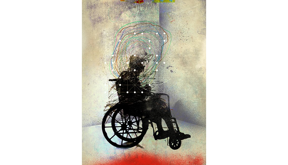 Illustration overmedicated patient wheelchair, Overprescription of antipsychotic medication