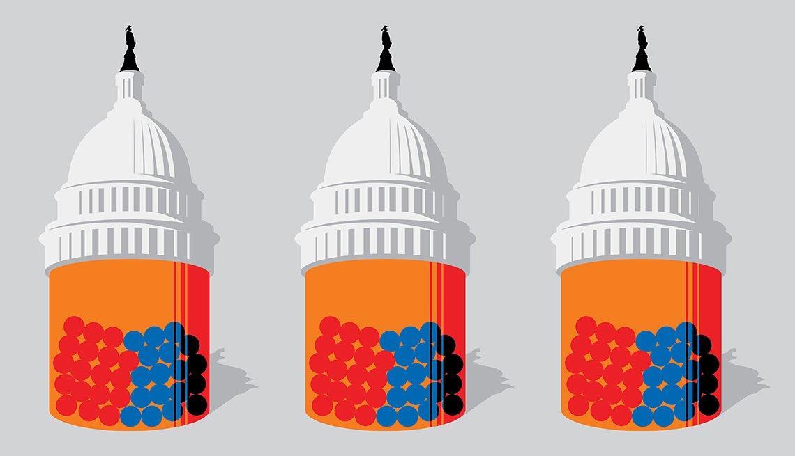 Gráfico del Capitolio como si fuera la tapa de un frasco de pastillas
