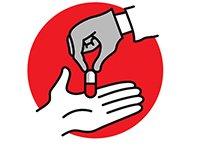 Gráfico de una mano dándole una pastilla a otro