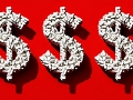 Signos de dólar hecho de pastillas