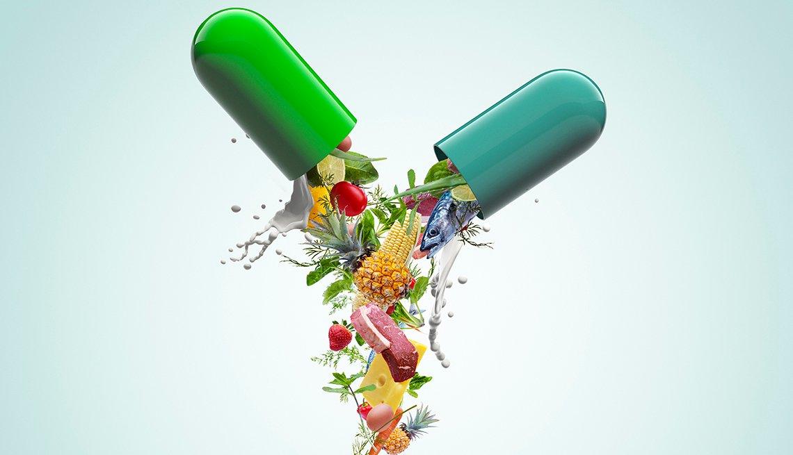 Ilustración de una cápsula llena de diferentes alimentos