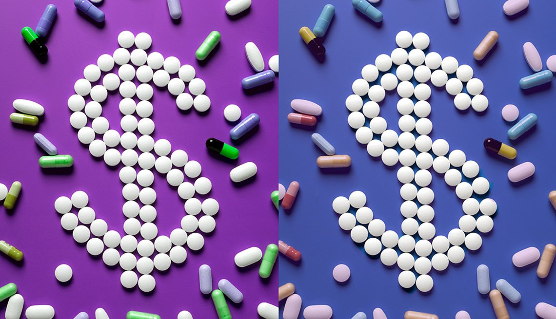 Pills on purple background in dollar sign