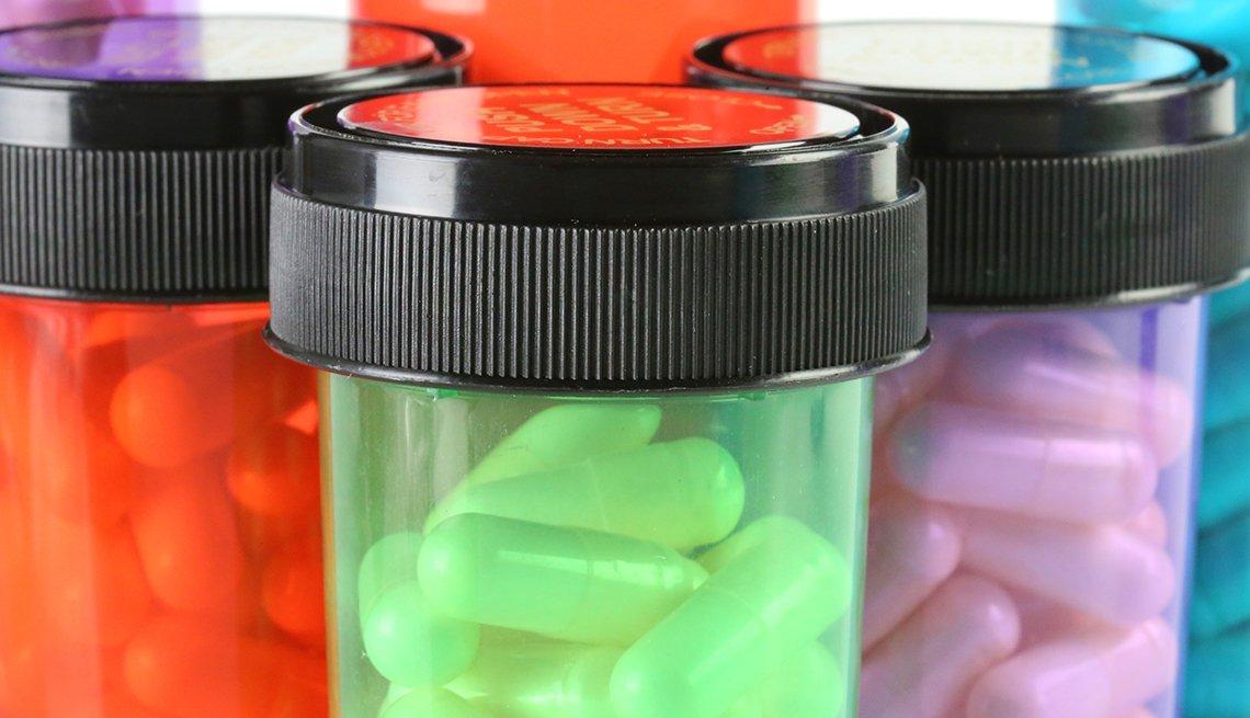 Colorful bottles of generic prescription drugs.