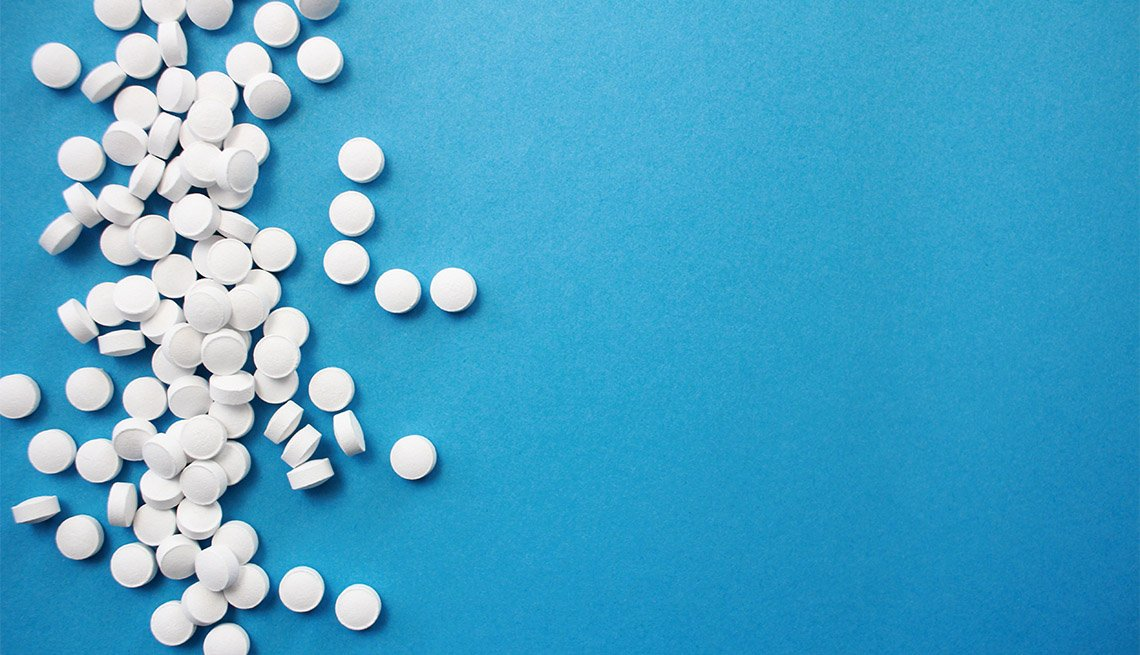 Aspirin on a blue background