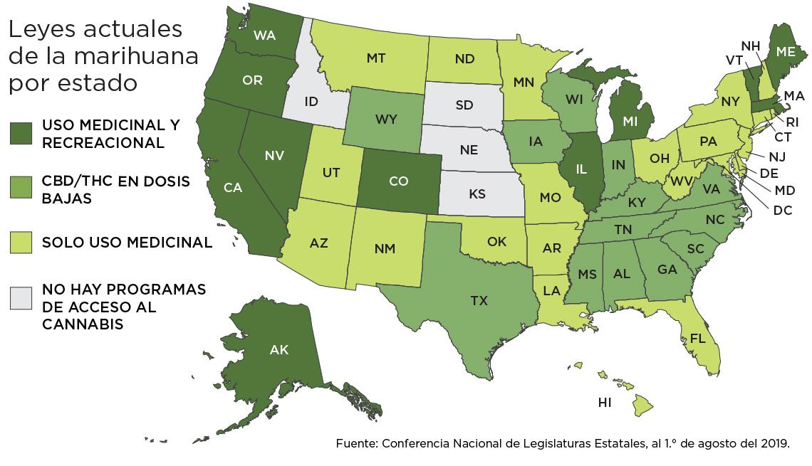 Mapa de Estados Unidos donde la marihuana es legal