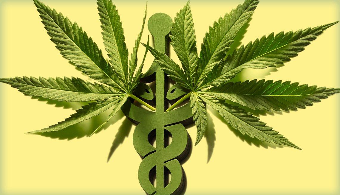 Dos plantas de marihuana insertadas en símbolo médico