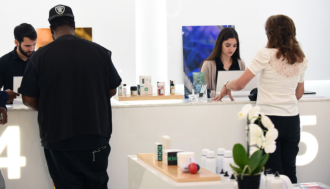 Patients placing orders at a medical marijuana dispensary