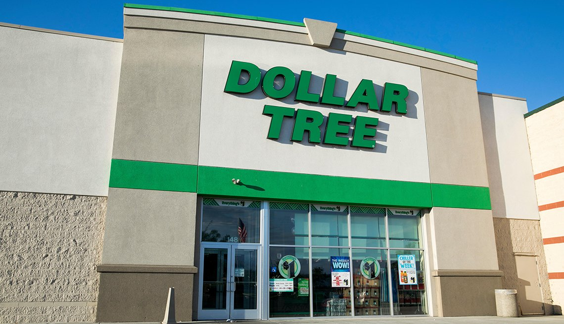 A logo sign outside of a Dollar Tree retail store location