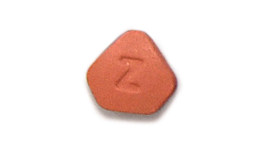 Close-up of a Zantac pill