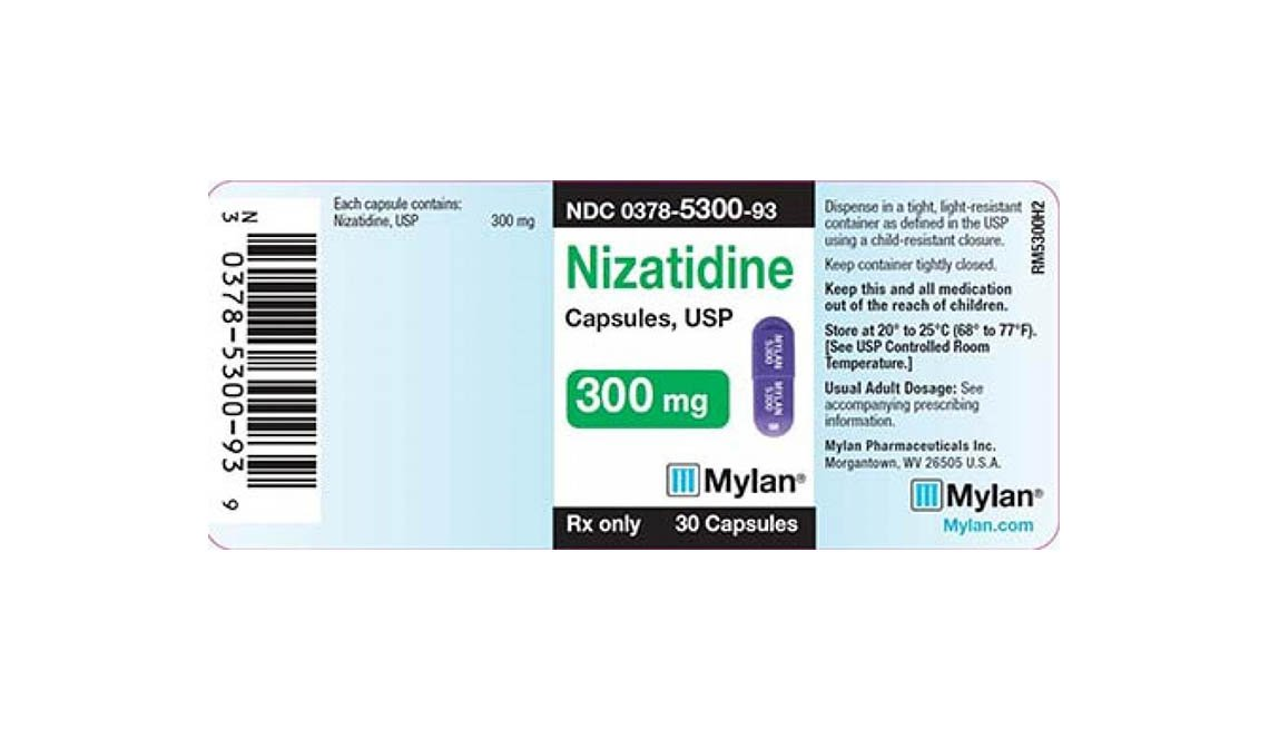 item 9, Gallery image. Recalled Nizatidine Label, 300 mg, 30 capsules