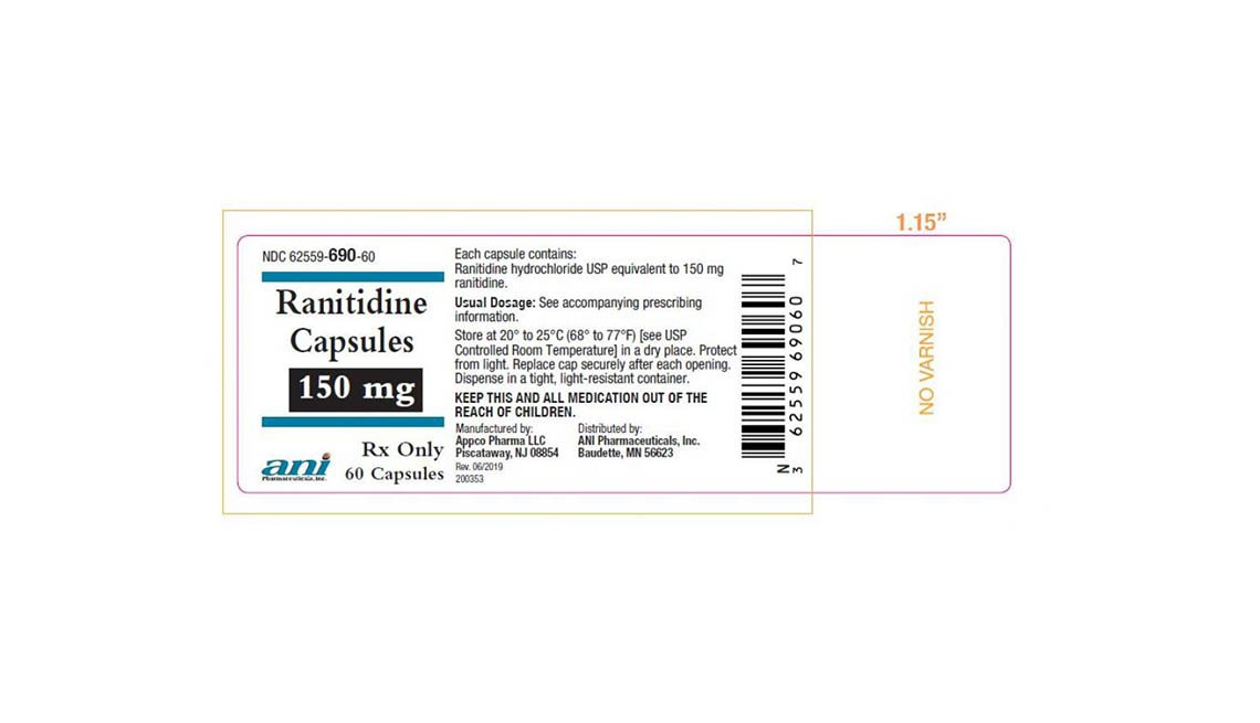 item 10, Gallery image. Recalled Ranitidine label, 150 mg, 60 capsules