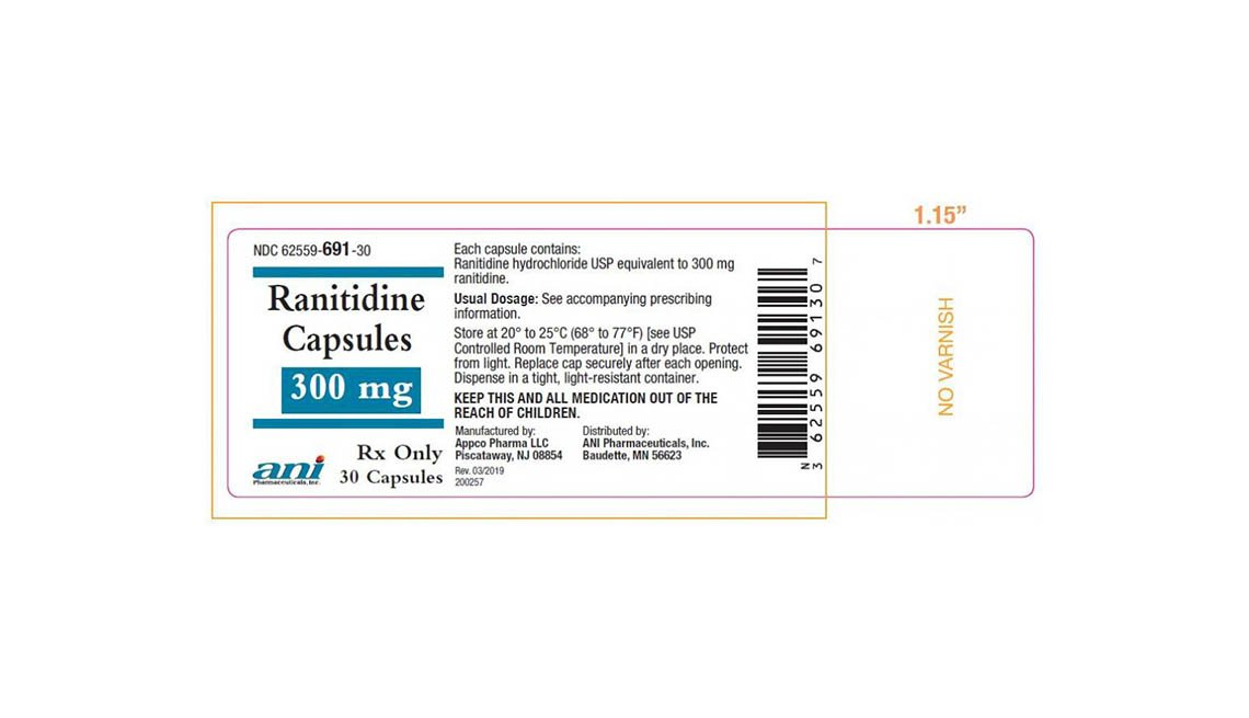 item 12, Gallery image. Recalled Ranitidine label, 300 mg, 30 capsules