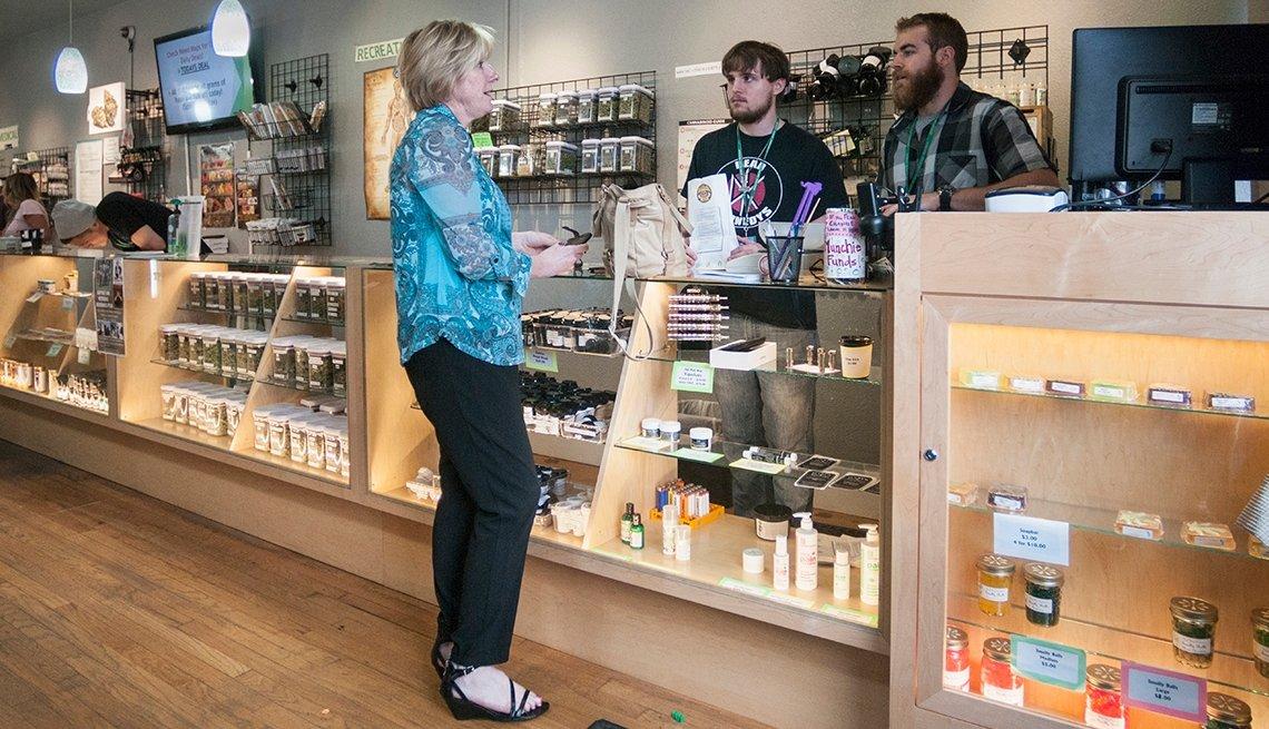 Selling medical and recreational marijuana at dispensary. Denver, CO