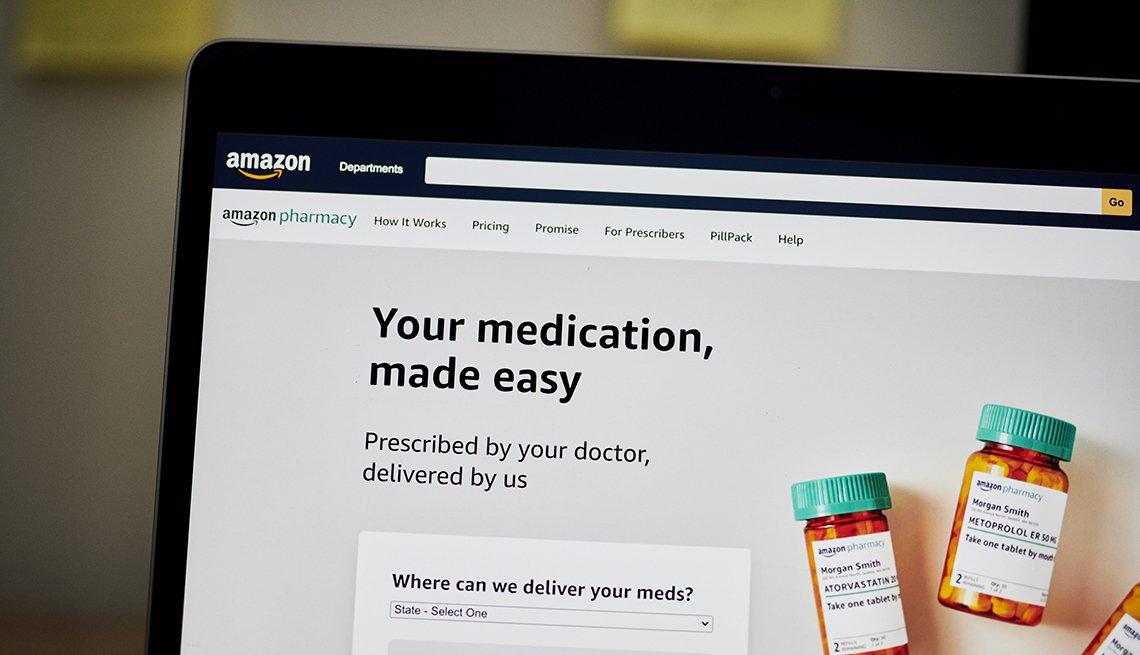 La pantalla de inicio de Amazon Pharmacy en una computadora