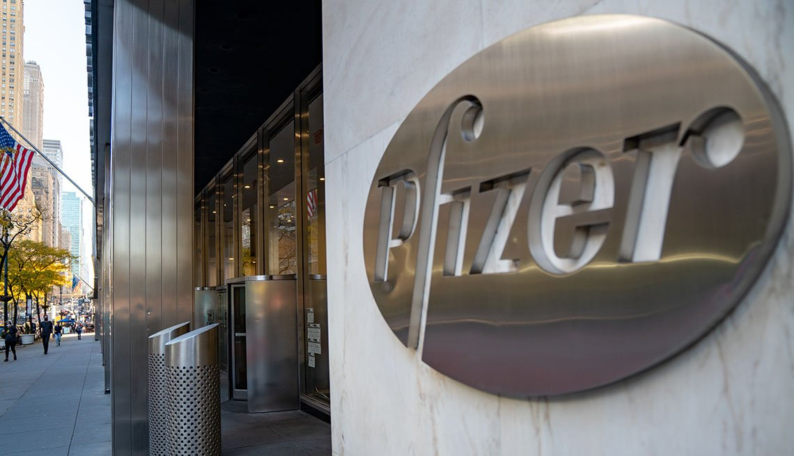 A sign for Pfizer is seen outside the Pfizer headquarters on November 9, 2020 in New York City.