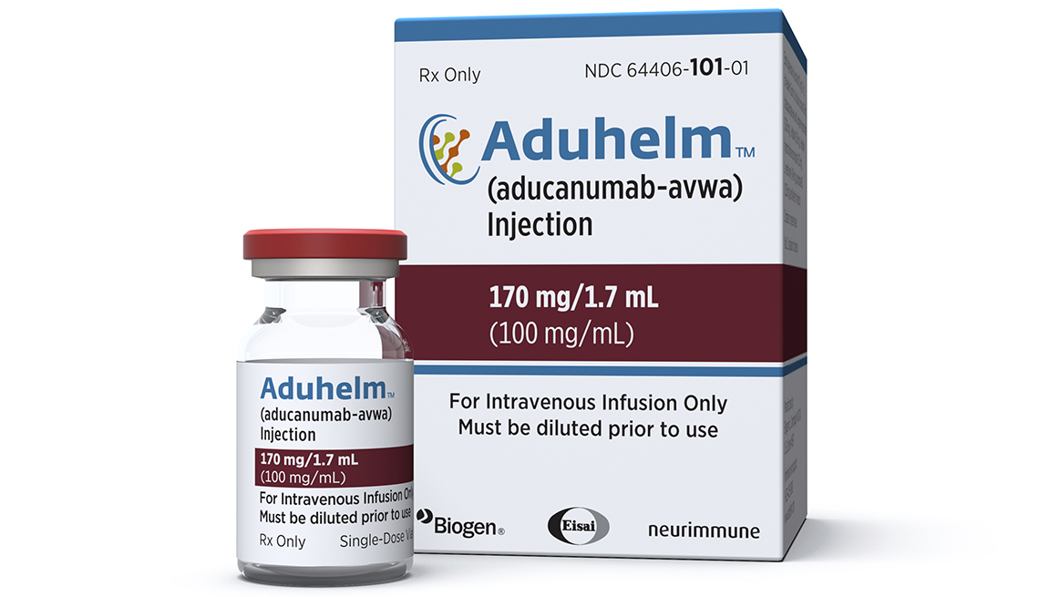 Empaque y vial del medicamento Aducanumab contra el Alzheimer