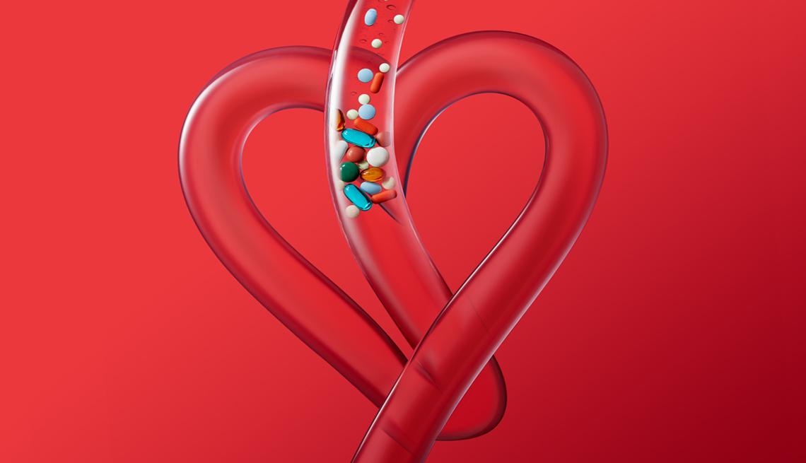 Ilustración de un tubo en forma de corazón y varios medicamentos bajan por el
