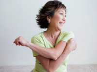 Woman stretching for walk