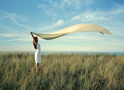 Beach towel blowing in the breeze