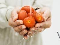 Alimentos orgánicos - Mujer lavando tomates.