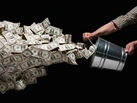bucket money thrown out waste health care robbing sick fraud
