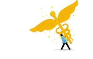 Gráfico de hombre cargando la vara de Esculapio - El ACA (Obamacare) ofrece nueva movilidad para las personas que trabajan