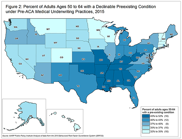 Figure 2 % Pop 50-64 Pre-Existing Condition by State Map - AARP