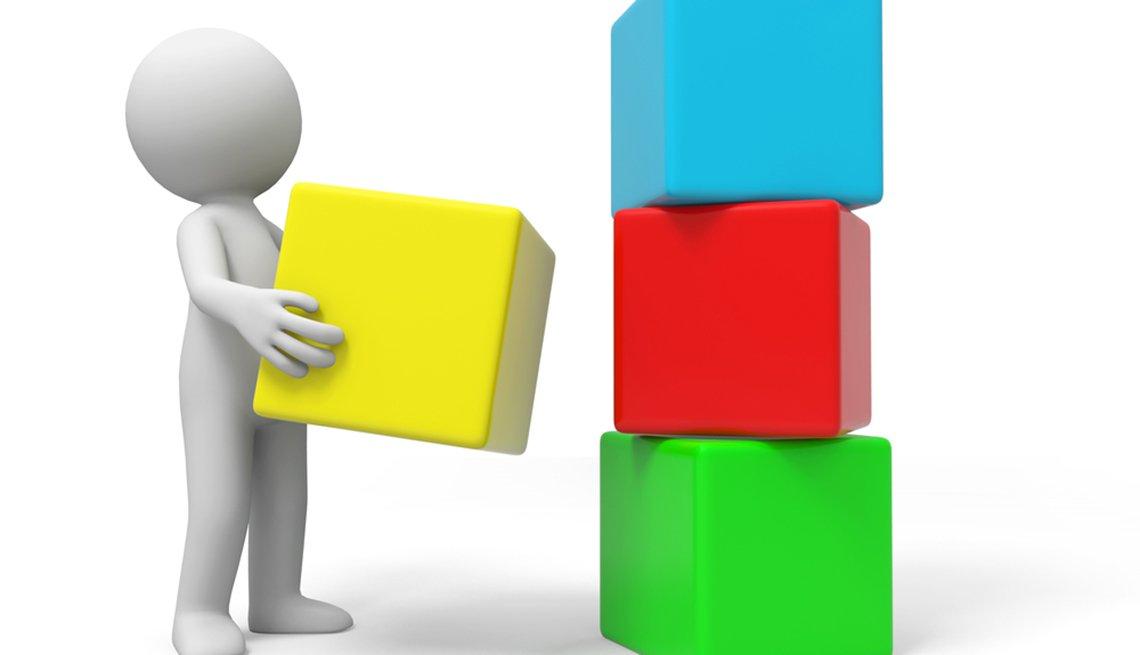Figura construyendo con bloques