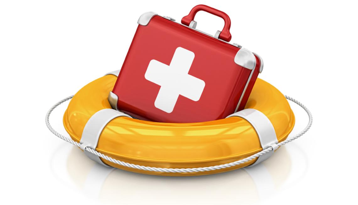 Kit de primeros auxilios en un salvavidas