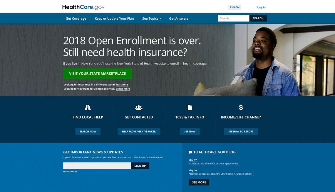 Captura de pantalla de la página digital de Healthcare.gov