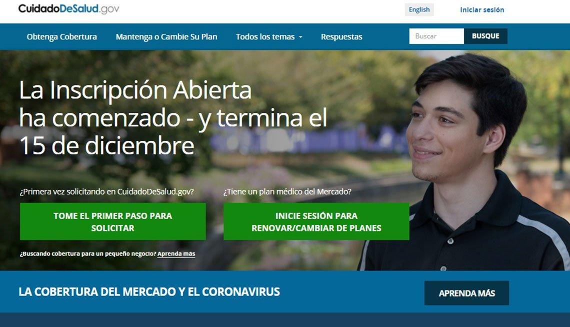 Captura de pantalla de Healthcare.gov en español