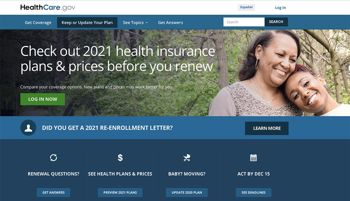 screenshot of healthcare dot gov website health insurance open enrollment page