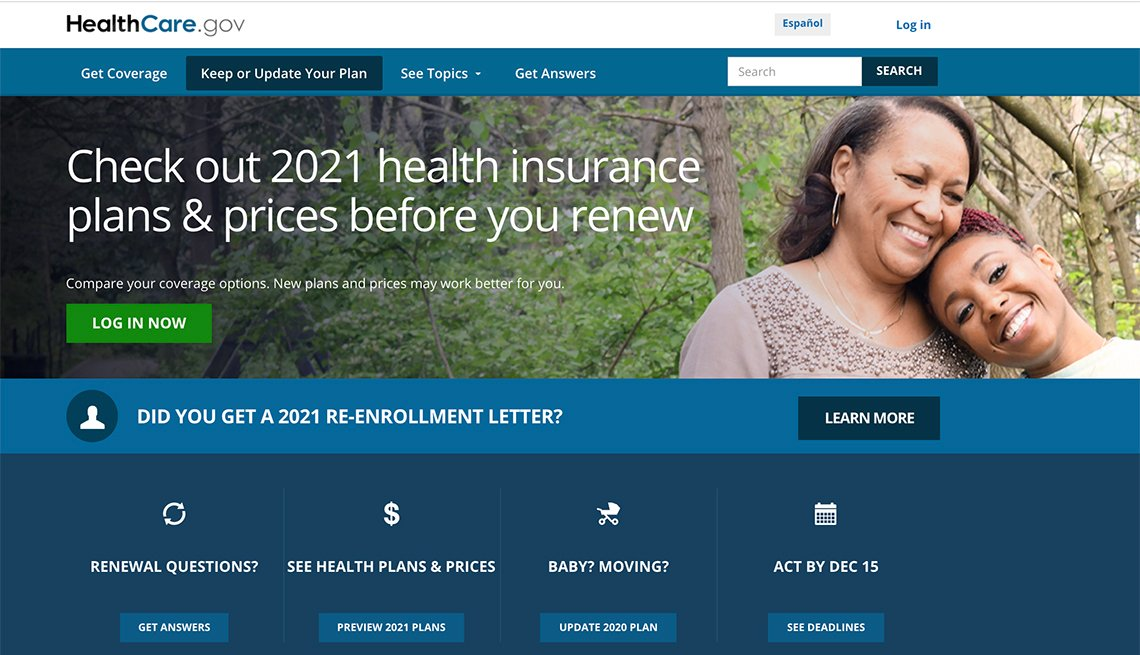 screenshot of healthcare dot gov website health insurance open enrollment page