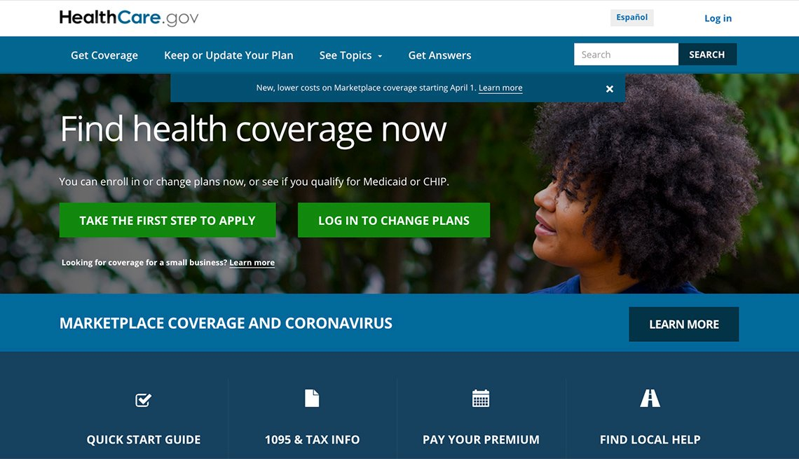 screenshot of the healthcare dot gov website home page