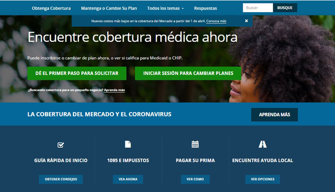 Captura de pantalla del sitio de internet Cuidado de Salud