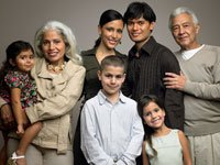Different stages of life — A family pic of husband and wife with parents and children