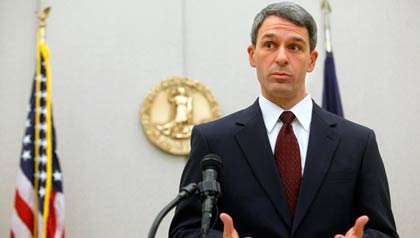 Virginia Attorney General Kenneth Cuccinelli speaks about the ruling from U.S. District Judge Henry E. Hudson that declared the foundation of President Barack Obama's health care law unconstitutional Monday, Dec. 13, 2010