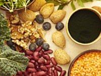 Los alimentos sanos - legumbres, frutos secos y verduras - puede ayudar a reducir el consumo de carne roja.