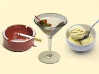 An ashtray, a martini and a bowl of ice cream. Overcoming bad habits.