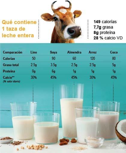 Comparación de las calorías y la grasa entre la leche, almendras, arroz, coco, soya y lino