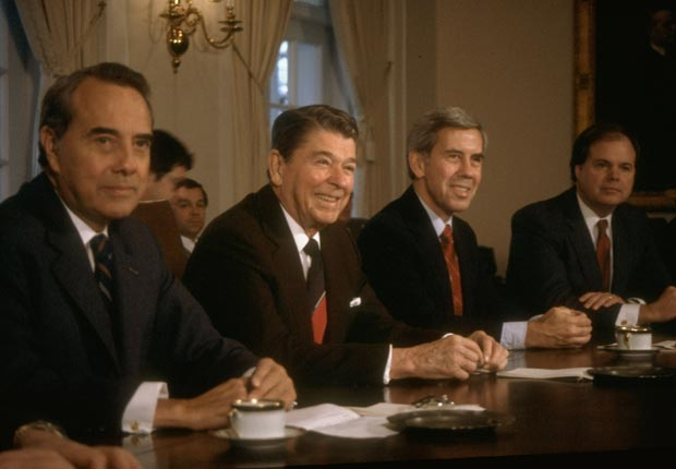 President Ronald Reagan meets with his cabinet members