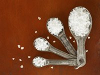 Salt in measuring spoons