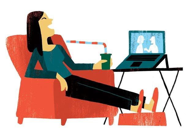 Grafico mujer viendo un video en una computadora portatil - Cambios para mejorar la salud