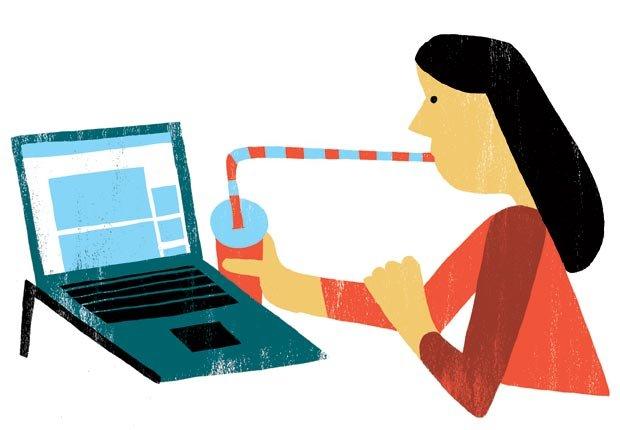 Grafico mujer utilizando una computadora portatil - Cambios para mejorar la salud