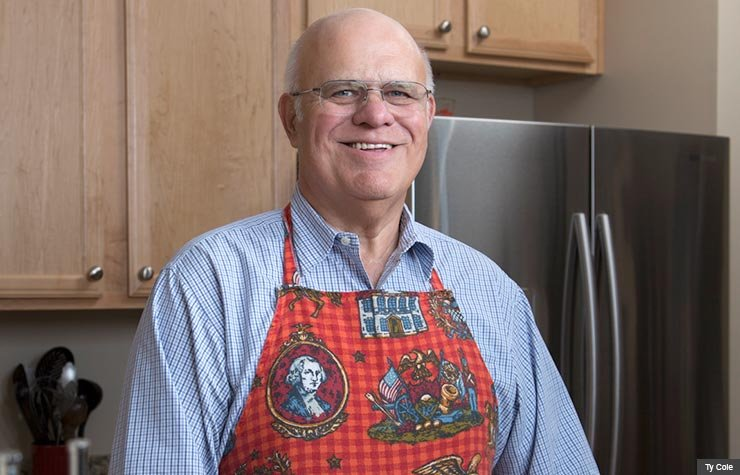 Portrait of Oren Sknner for AARP Magazine. Oren credits cooking at home with his weight loss so far