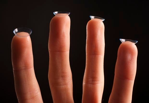 Four fingers with contact lenses, Keep lens cases clean